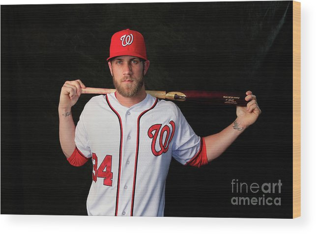 Media Day Wood Print featuring the photograph Bryce Harper by Rob Carr