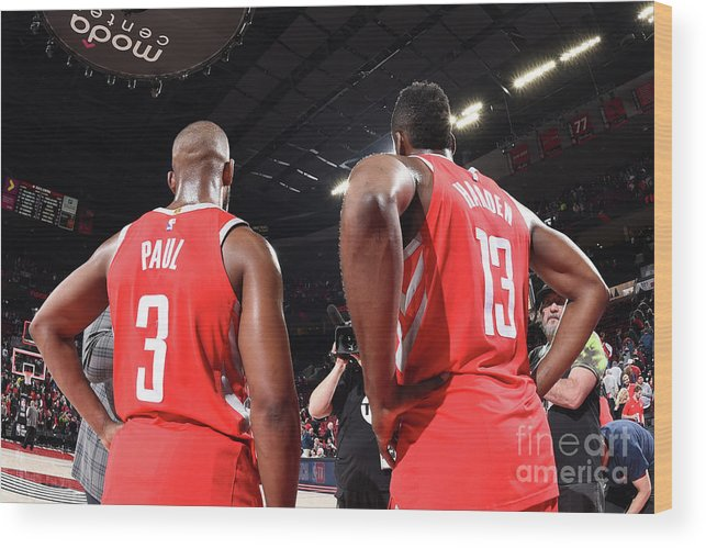 Nba Pro Basketball Wood Print featuring the photograph Chris Paul and James Harden by Andrew D. Bernstein
