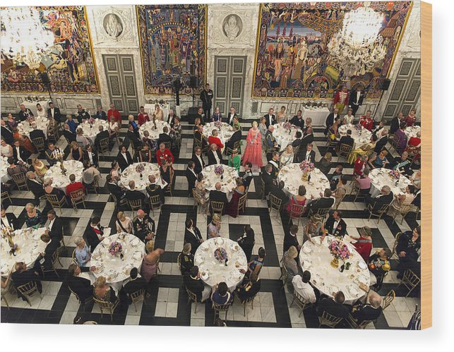 Event Wood Print featuring the photograph Crown Prince Frederik of Denmark Holds Gala Banquet At Christiansborg Palace by Ole Jensen
