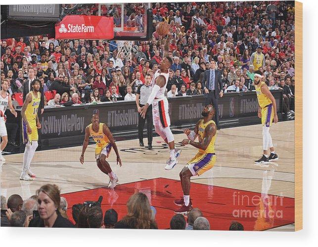 Nba Pro Basketball Wood Print featuring the photograph Damian Lillard by Andrew D. Bernstein