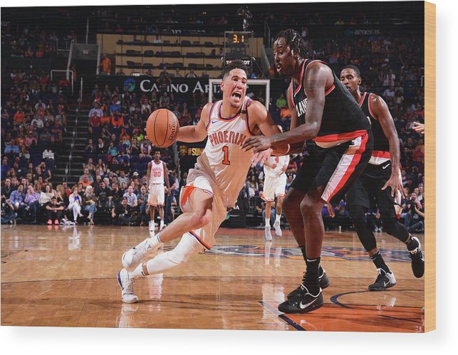 Nba Pro Basketball Wood Print featuring the photograph Devin Booker by Michael Gonzales