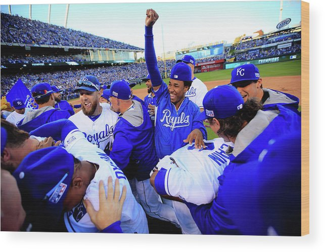 American League Baseball Wood Print featuring the photograph Eric Hosmer by Jamie Squire