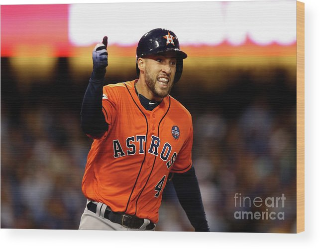 Second Inning Wood Print featuring the photograph George Springer by Ezra Shaw