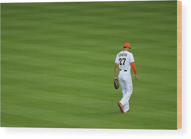 American League Baseball Wood Print featuring the photograph Giancarlo Stanton by Mike Ehrmann