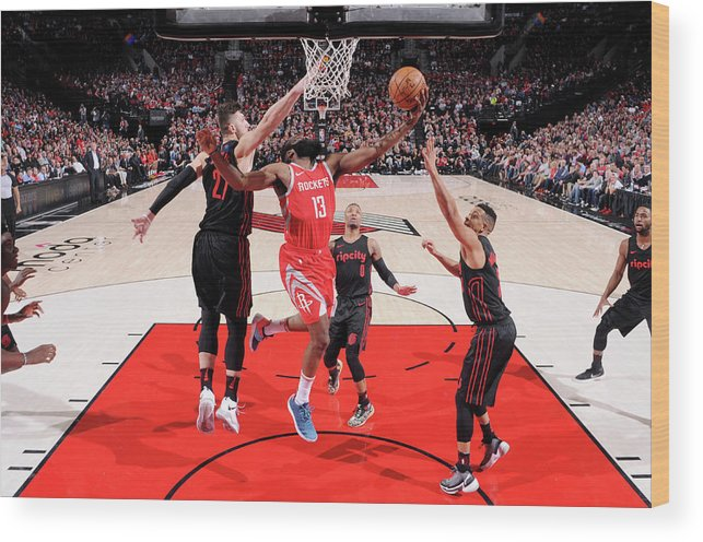 Nba Pro Basketball Wood Print featuring the photograph James Harden by Sam Forencich