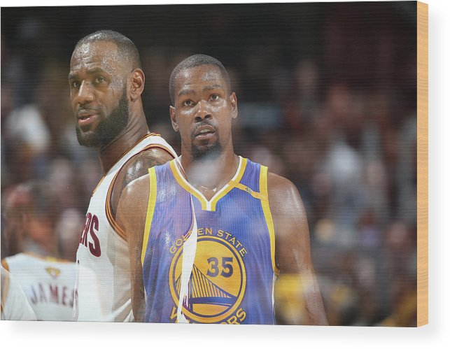 Playoffs Wood Print featuring the photograph Kevin Durant and Lebron James by Nathaniel S. Butler