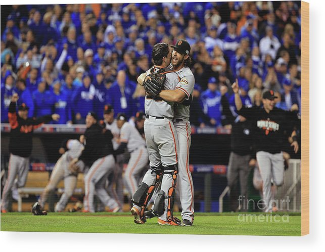 People Wood Print featuring the photograph Madison Bumgarner and Buster Posey by Jamie Squire