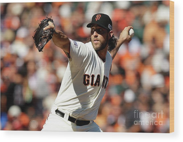 San Francisco Wood Print featuring the photograph Madison Bumgarner by Ezra Shaw