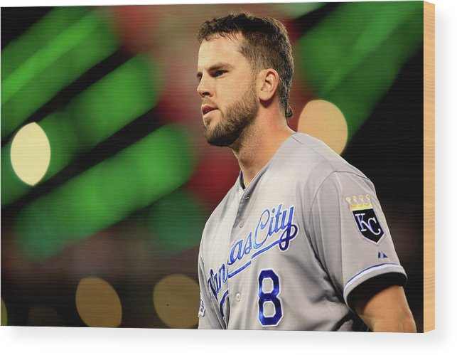San Francisco Wood Print featuring the photograph Mike Moustakas by Jamie Squire
