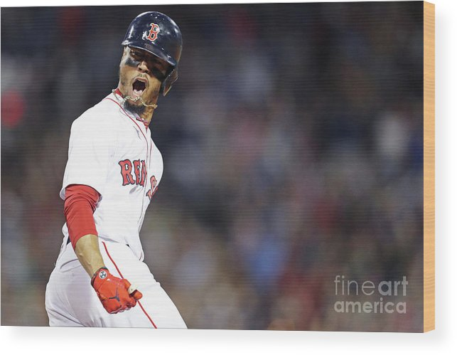 Three Quarter Length Wood Print featuring the photograph Mookie Betts by Maddie Meyer