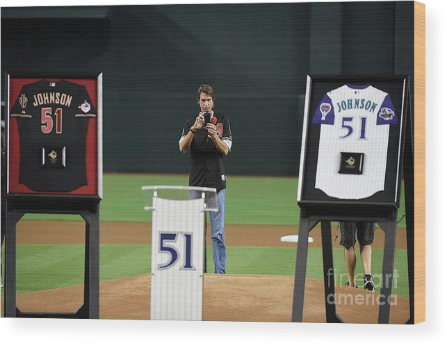 Three Quarter Length Wood Print featuring the photograph Randy Johnson by Norm Hall