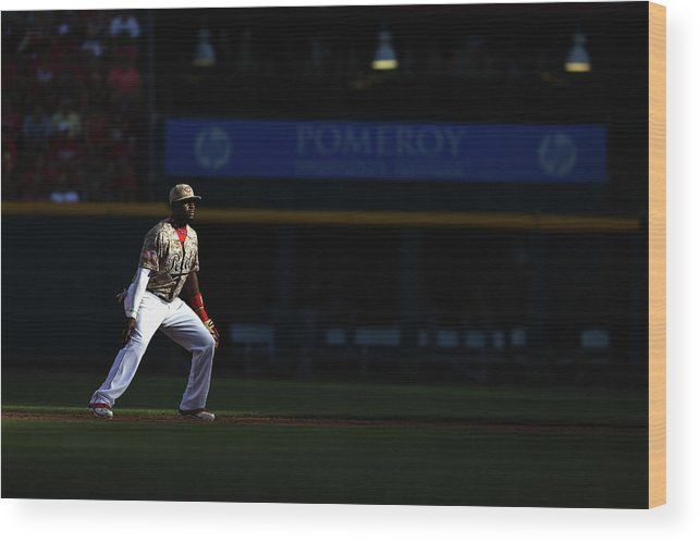 Great American Ball Park Wood Print featuring the photograph Red Phillips by Andy Lyons
