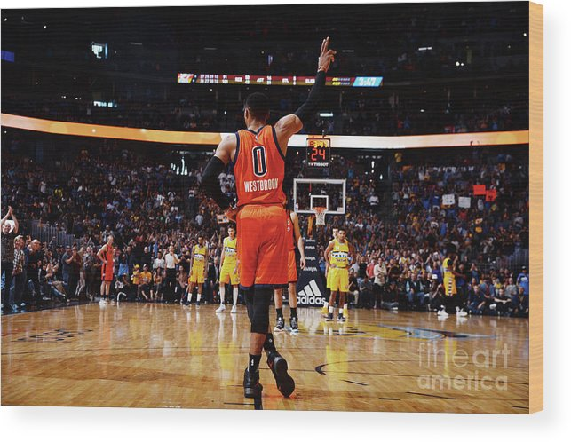 Crowd Wood Print featuring the photograph Russell Westbrook by Bart Young