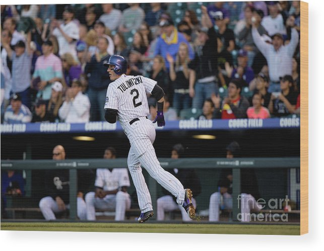 National League Baseball Wood Print featuring the photograph Troy Tulowitzki by Justin Edmonds