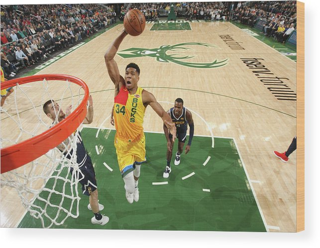 Nba Pro Basketball Wood Print featuring the photograph Giannis Antetokounmpo by Gary Dineen