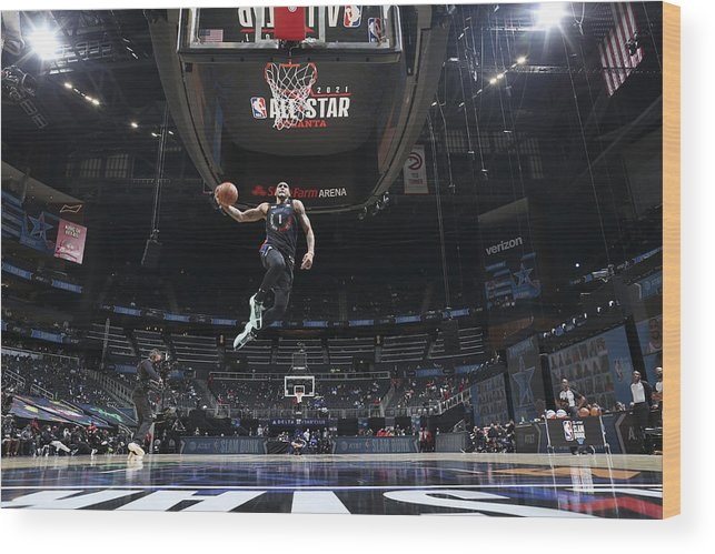 Atlanta Wood Print featuring the photograph 2021 NBA All-Star - AT&T Slam Dunk Contest by Nathaniel S. Butler