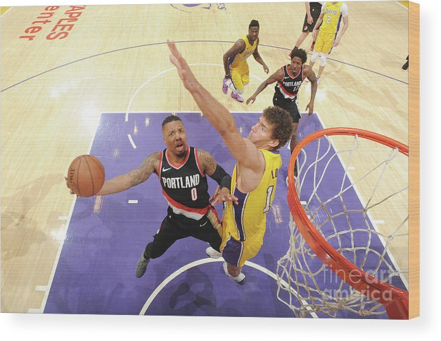 Nba Pro Basketball Wood Print featuring the photograph Damian Lillard by Andrew D. Bernstein