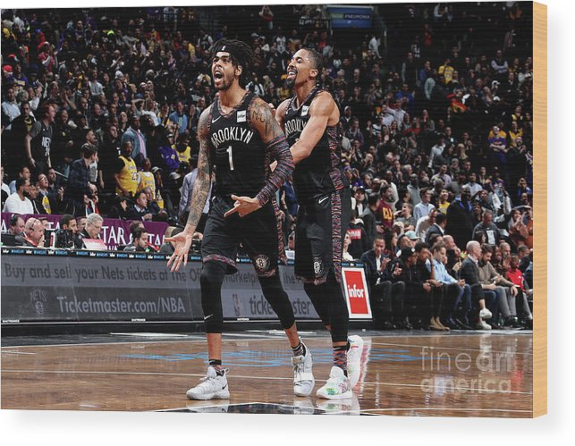 Nba Pro Basketball Wood Print featuring the photograph D'angelo Russell by Nathaniel S. Butler