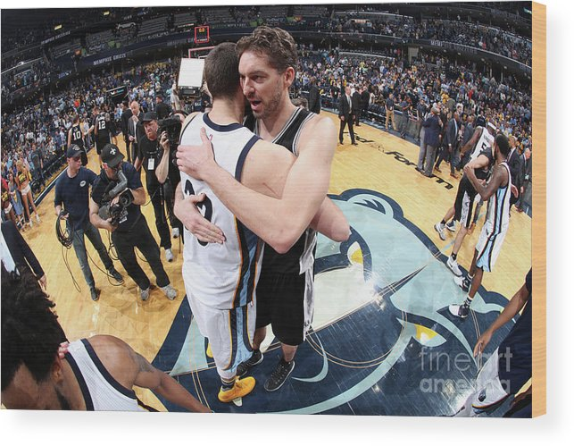 Playoffs Wood Print featuring the photograph Marc Gasol and Pau Gasol by Joe Murphy