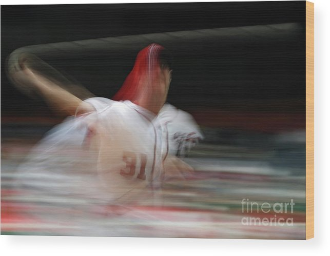 Working Wood Print featuring the photograph Max Scherzer by Patrick Smith