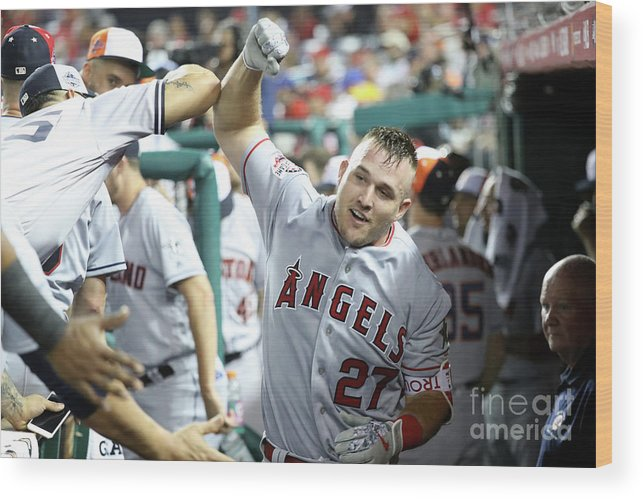 People Wood Print featuring the photograph Mike Trout by Rob Carr