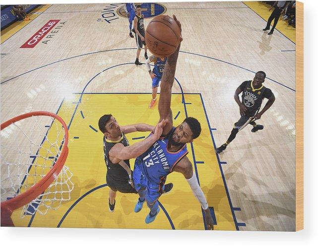 Nba Pro Basketball Wood Print featuring the photograph Paul George by Garrett Ellwood