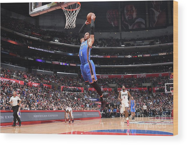 Nba Pro Basketball Wood Print featuring the photograph Russell Westbrook by Andrew D. Bernstein