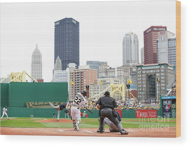 American League Baseball Wood Print featuring the photograph Andrew Mccutchen by Jared Wickerham
