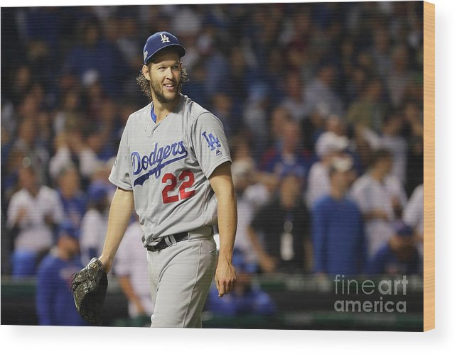 Game Two Wood Print featuring the photograph Clayton Kershaw by Jamie Squire