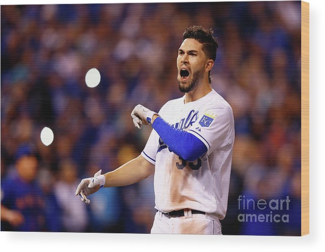 People Wood Print featuring the photograph Eric Hosmer by Jamie Squire