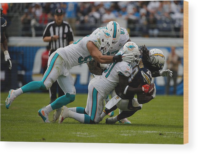 People Wood Print featuring the photograph Miami Dolphins v San Diego Chargers by Sean M. Haffey