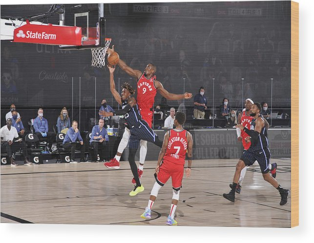 Nba Pro Basketball Wood Print featuring the photograph Serge Ibaka by Garrett Ellwood