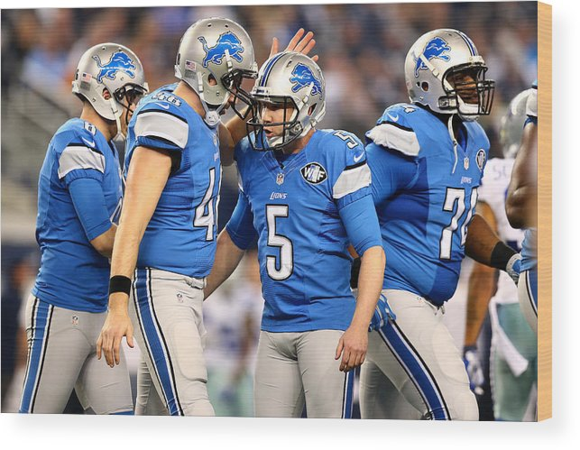 Playoffs Wood Print featuring the photograph Wild Card Playoffs - Detroit Lions v Dallas Cowboys by Ronald Martinez