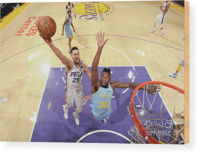 Nba Pro Basketball Wood Print featuring the photograph Ben Simmons by Andrew D. Bernstein
