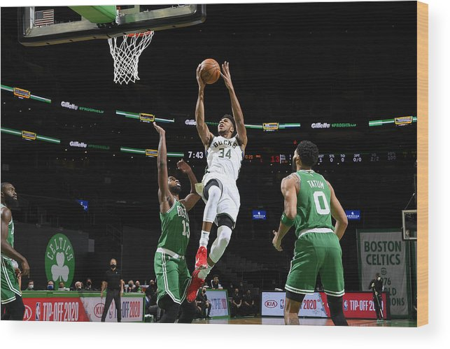 Nba Pro Basketball Wood Print featuring the photograph Giannis Antetokounmpo by Brian Babineau