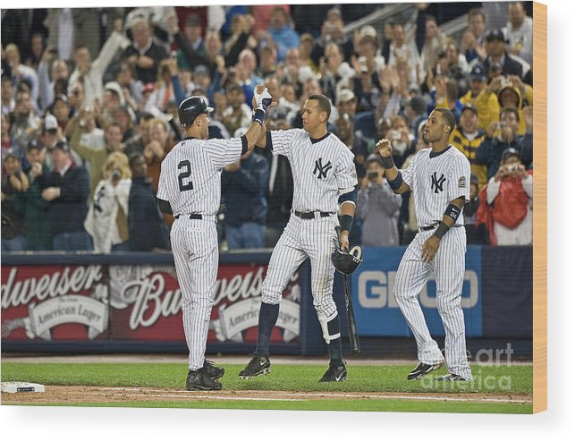 People Wood Print featuring the photograph Lou Gehrig and Derek Jeter by Icon Sports Wire
