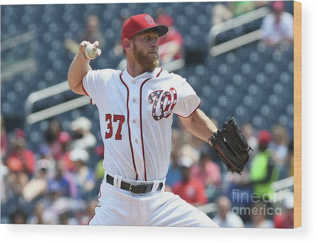 American League Baseball Wood Print featuring the photograph Stephen Strasburg by Greg Fiume