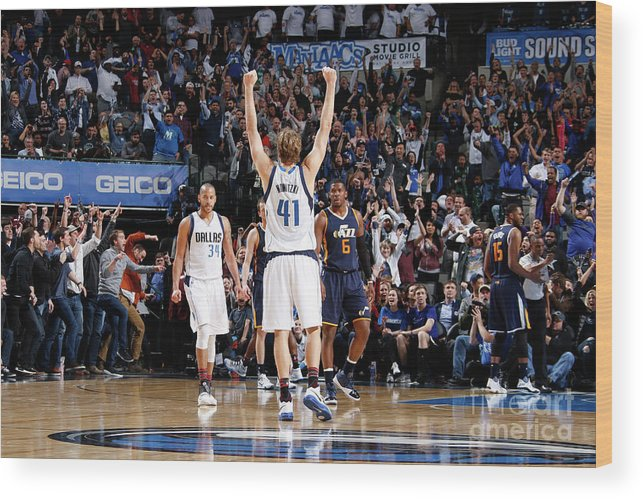 Nba Pro Basketball Wood Print featuring the photograph Dirk Nowitzki by Danny Bollinger