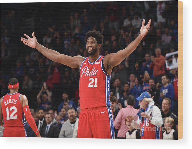 Nba Pro Basketball Wood Print featuring the photograph Joel Embiid by David Dow