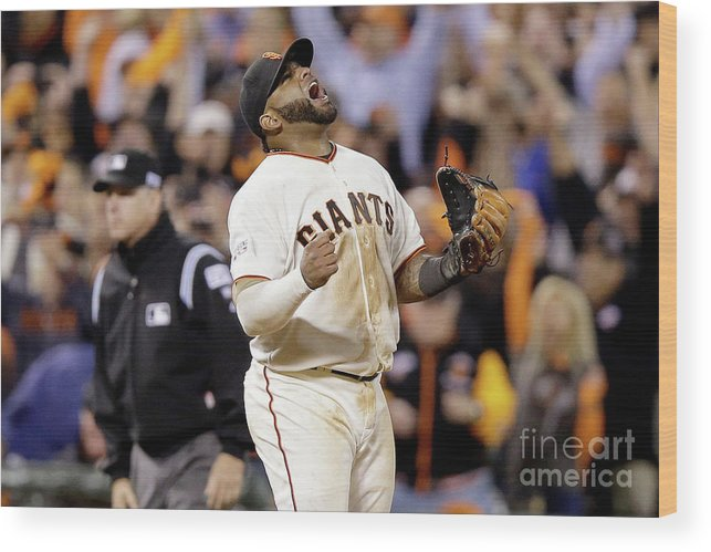 Playoffs Wood Print featuring the photograph Pablo Sandoval by Ezra Shaw