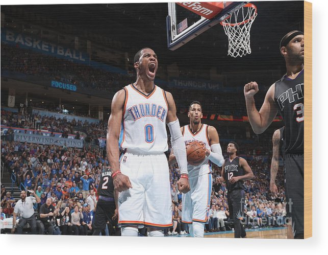 Nba Pro Basketball Wood Print featuring the photograph Russell Westbrook by Joe Murphy