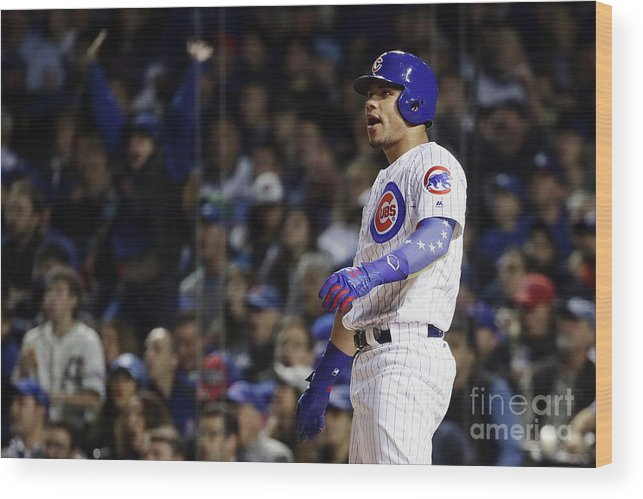 Second Inning Wood Print featuring the photograph Willson Contreras by Jonathan Daniel