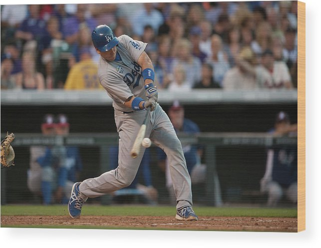 Los Angeles Dodgers Wood Print featuring the photograph A. J. Ellis by Dustin Bradford
