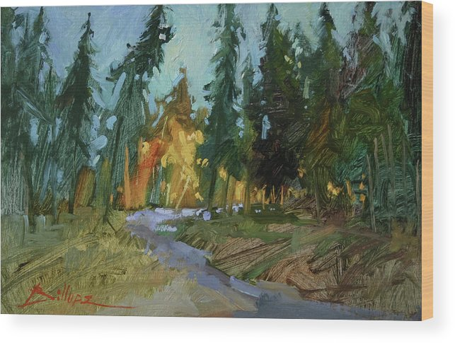 Paintings Of Woods Wood Print featuring the painting A Touch of Gold by Betty Jean Billups