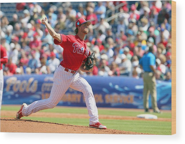 Aaron Nola Wood Print featuring the photograph Aaron Nola by Icon Sportswire
