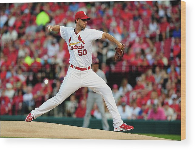 St. Louis Cardinals Wood Print featuring the photograph Adam Wainwright by Jeff Curry