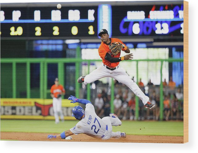Double Play Wood Print featuring the photograph Adeiny Hechavarria and Matt Kemp by Rob Foldy