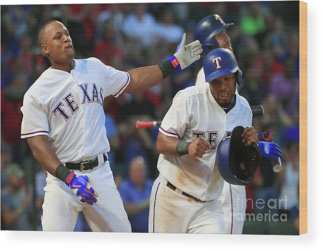 Headwear Wood Print featuring the photograph Adrian Beltre and Elvis Andrus by Tom Pennington