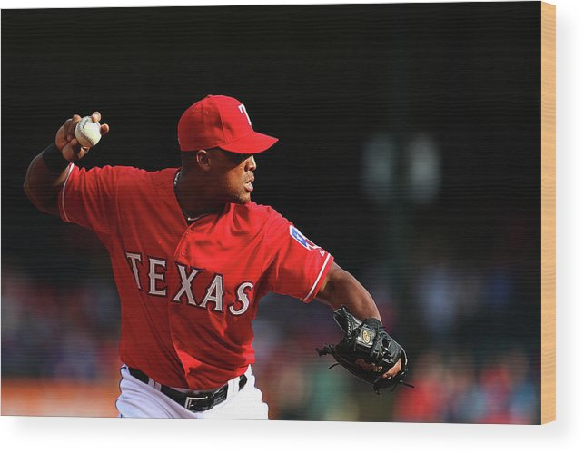 Adrian Beltre Wood Print featuring the photograph Adrian Beltre by Sarah Crabill