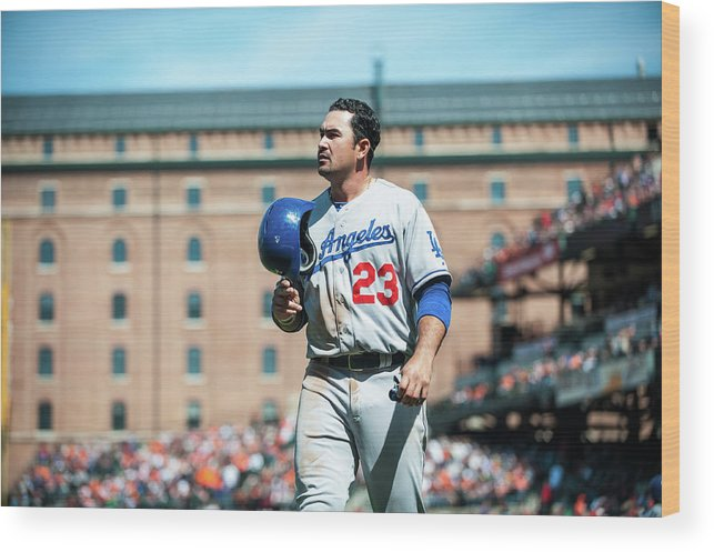 American League Baseball Wood Print featuring the photograph Adrian Gonzalez by Rob Tringali